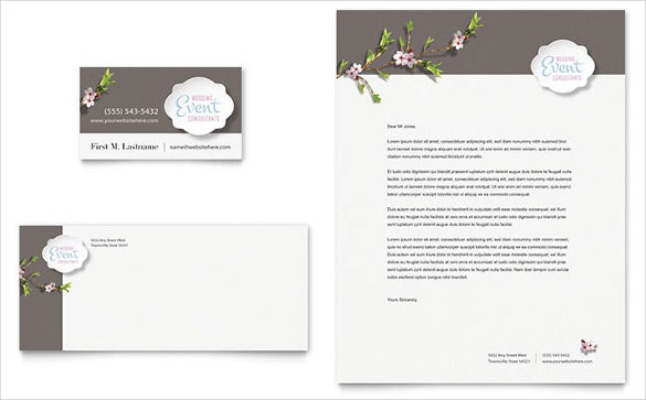 wedding planner business card letterhead template