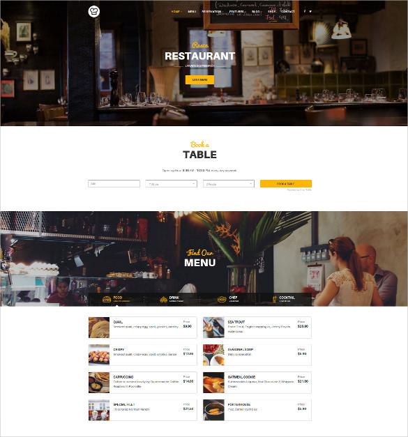joomla restaurant template