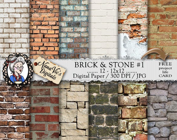 12 brick stone textures design set download