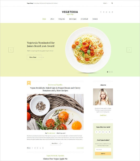 recipes responsive wordpress theme