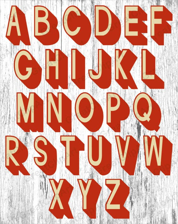 26 retro alphabet instant download