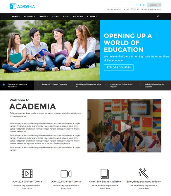 education bootstrap wordpress template