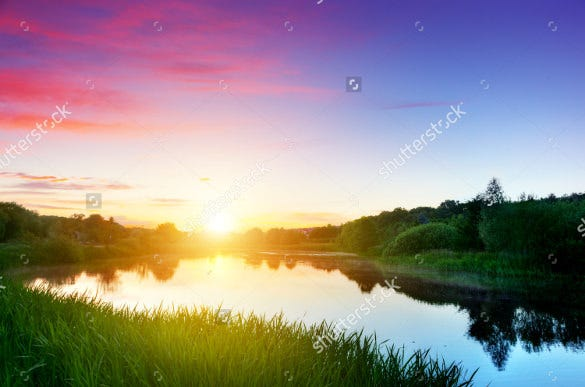 lake in forest at sunset hd background download