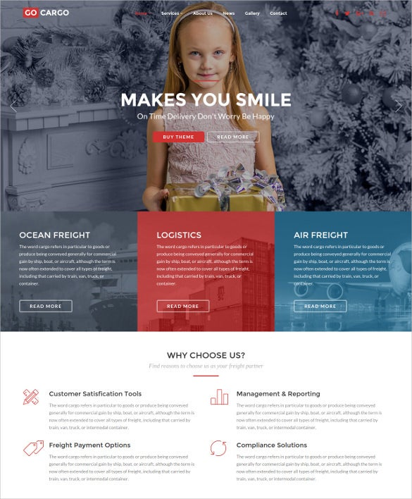 logistics transportation wordpress theme