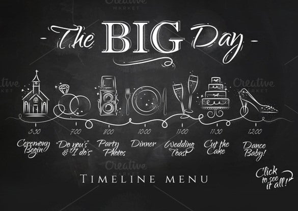 wedding timeline template with chalkboard background