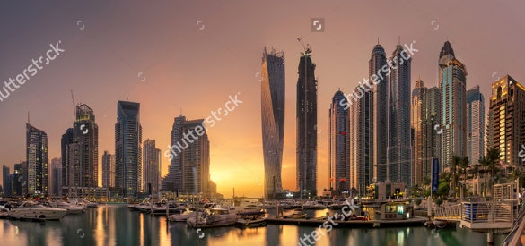 dubai marina towers with glowing sunset hd background download