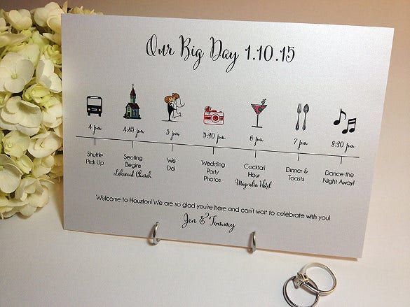 print ready wedding timeline template