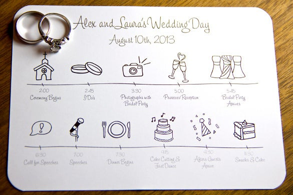 Day Of Wedding Timeline Template Free – Bernit Bridal