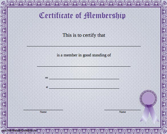 A Blue Purple Certificate Of Membership Template PDF Printable  Free Certificate Templates Word
