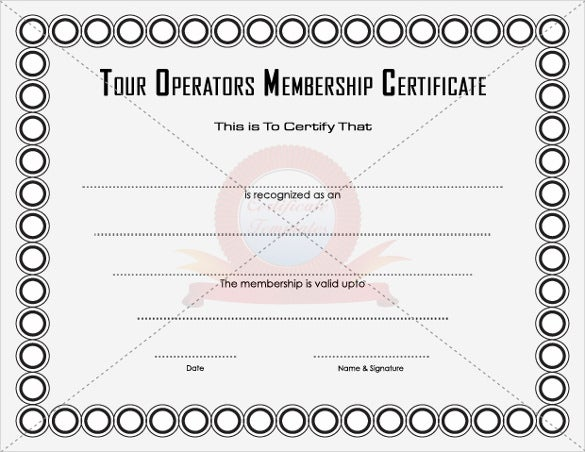 tour operators membership certificate template download