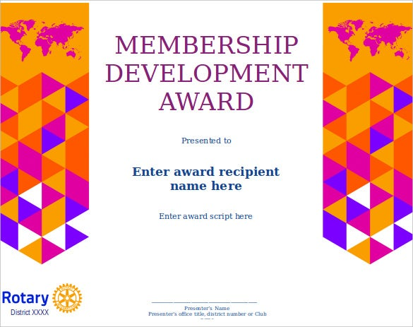 membership development award certificate template word doc download