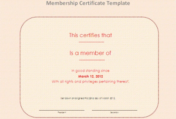lifetime membership certificate template word doc download