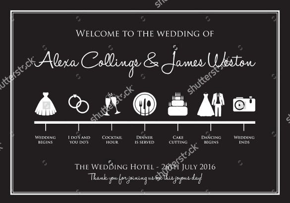 wedding timeline template with dark background