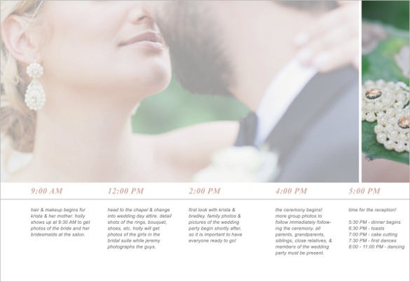 wedding timeline template with couple background