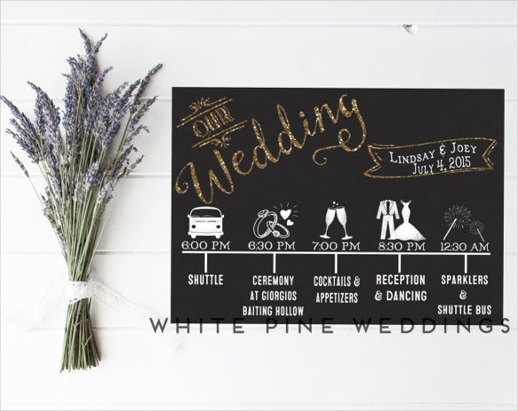 colorful wedding timeline template for download