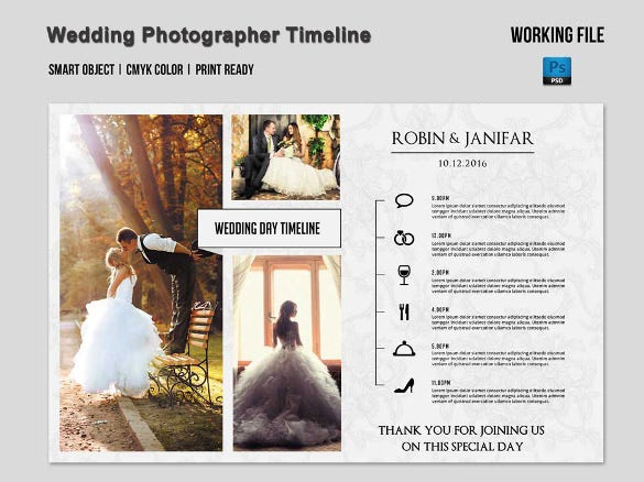 designed wedding timeline template download