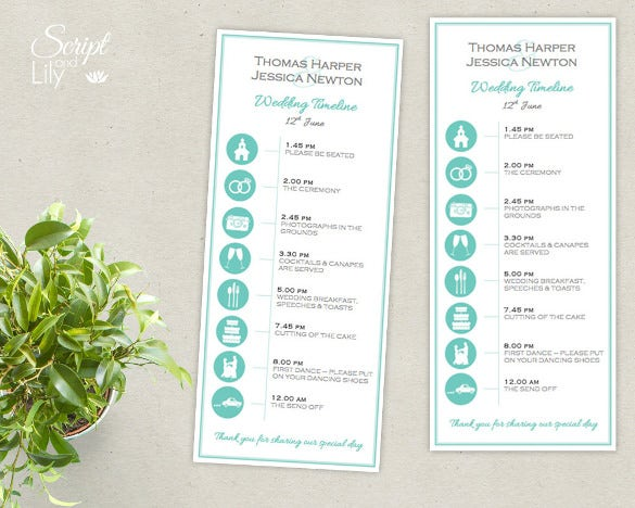 wedding timeline template instant download