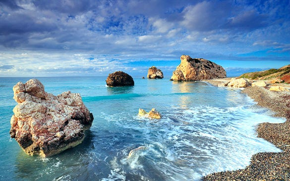cyprus rock sea shores hd background download