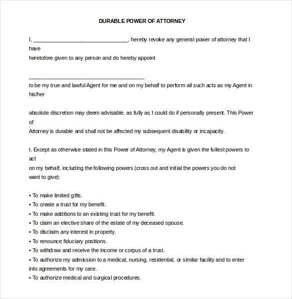 word format durable power of attorney free download
