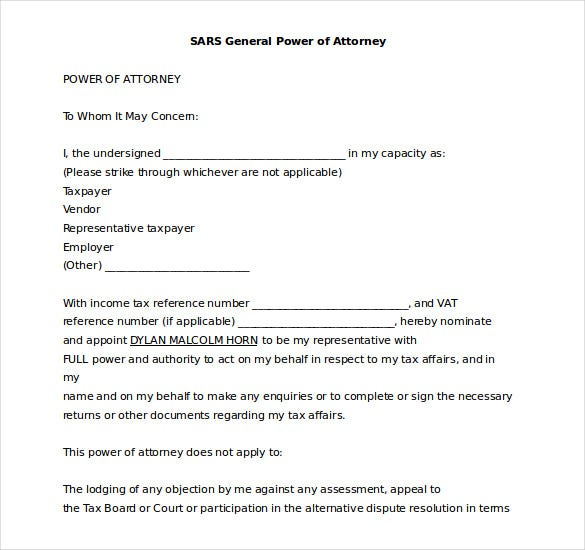 sars power of attorney word format template