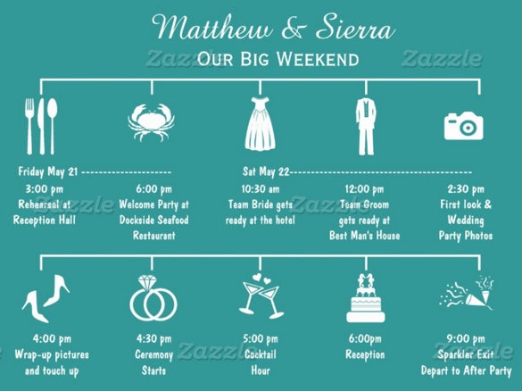blue background wedding itinerary template download