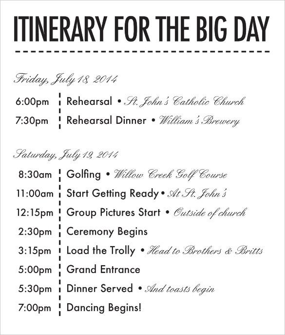 Wedding day itinerary template excel calendar template 2016 for Bridal shower itinerary template