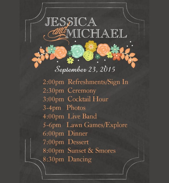 floral wedding itinerary template for download