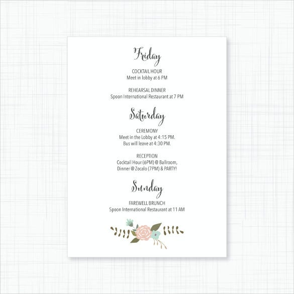 blush floral wedding itinerary template