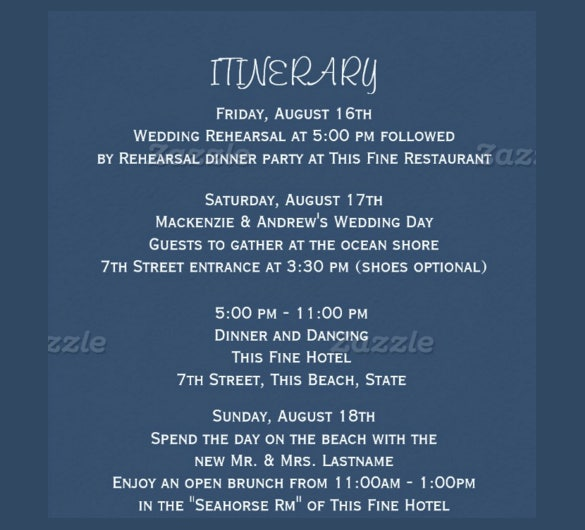 wedding itinerary template download