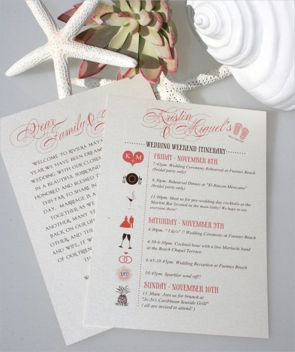 thematic wedding itinerary template download