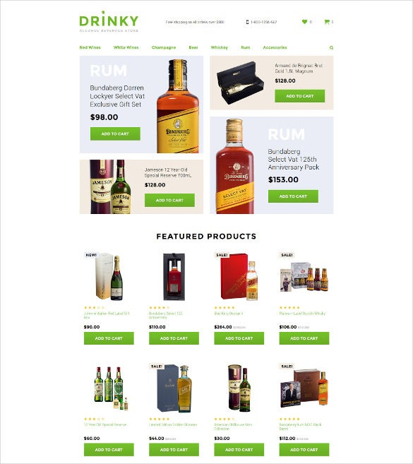 e commerce drink opencart template
