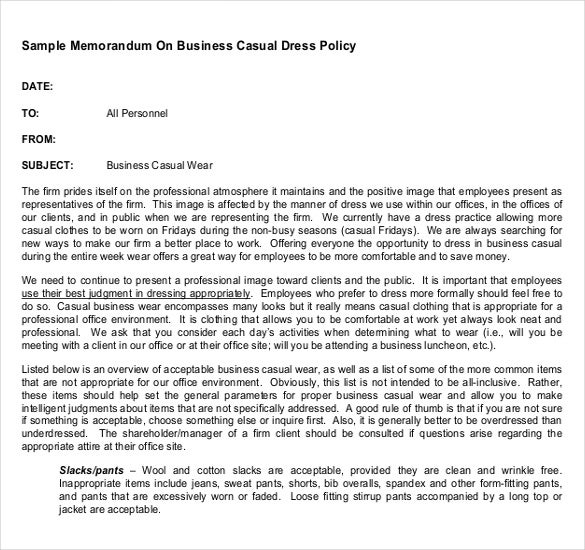 Sample Memorandum On Business Casual Dress Policy