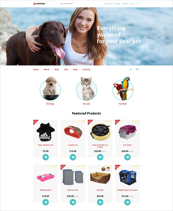 e commerce pet shop responsive opencart template