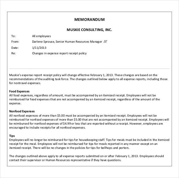 Business Memo Templates  Free Sample Example Format