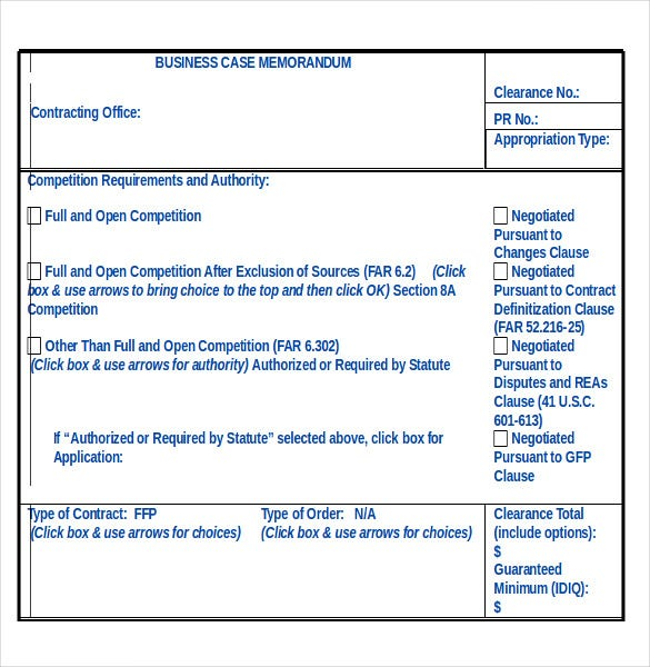 business case memorandum sample format