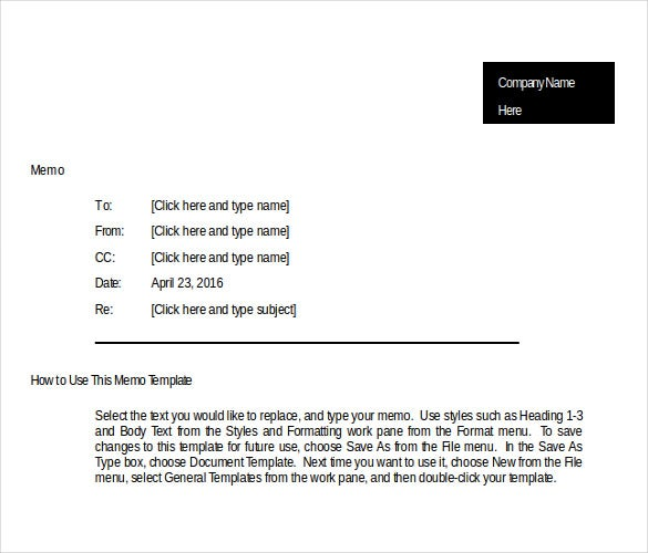 Business Memo Templates  Free Sample Example Format Download