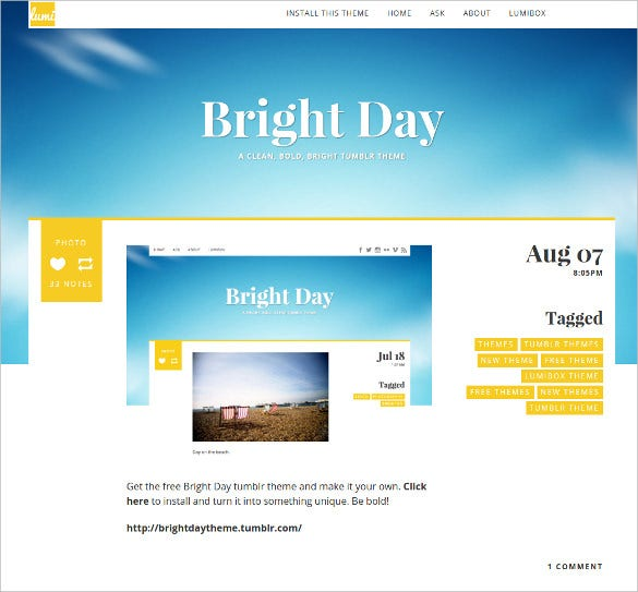 free bright day tumblr theme1