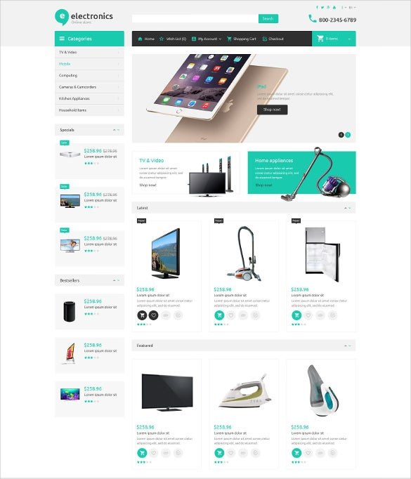 e commerce electronic store opencart template