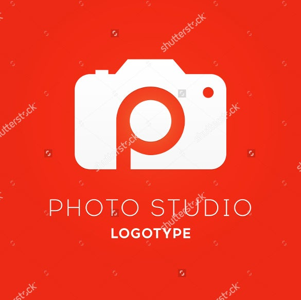 photography logo vector illustration isolated on red background
