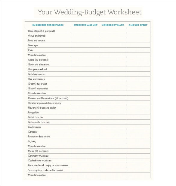 wedding budget xl sheet free download