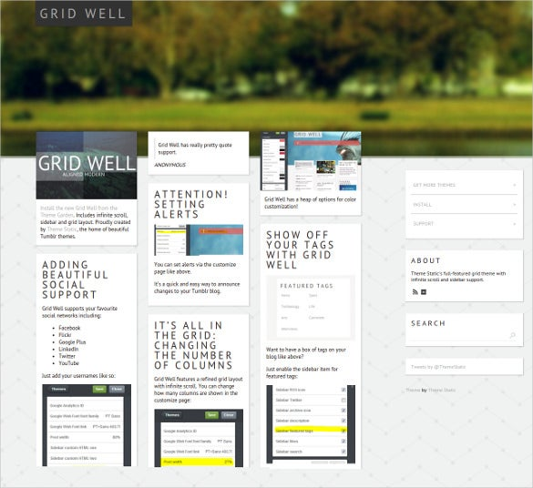 free grid well tumblr theme1