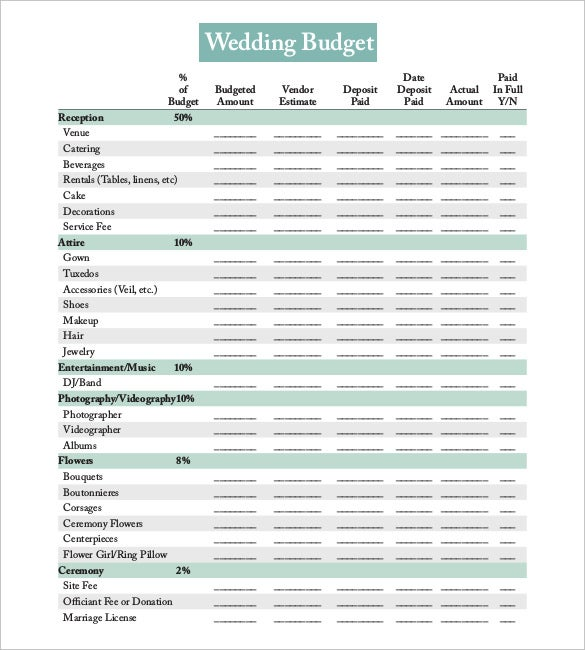 22+ Wedding Budget Templates