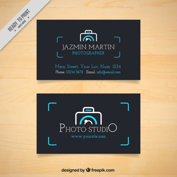 dark photo studio card with camera logo free download
