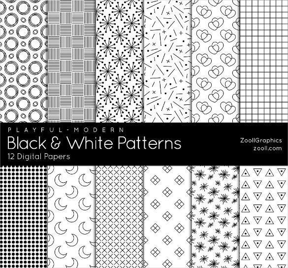 12 black and white patterns set download