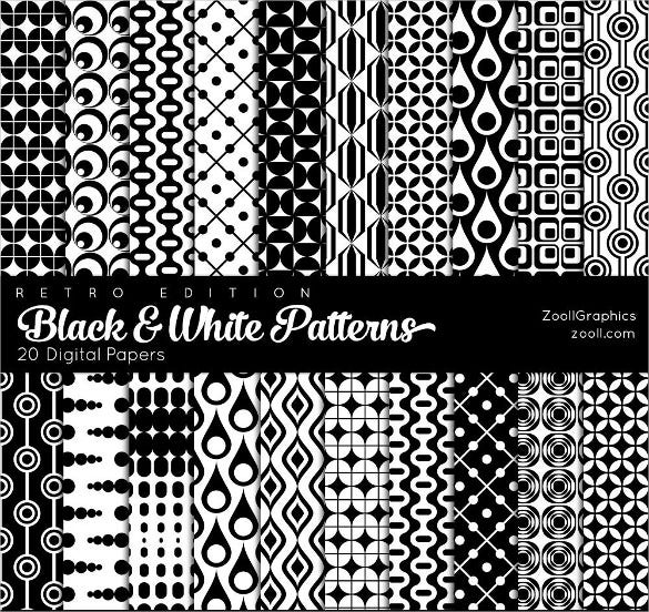 20 retro black and white patterns set download