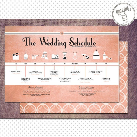 vintage wedding schedule template for download
