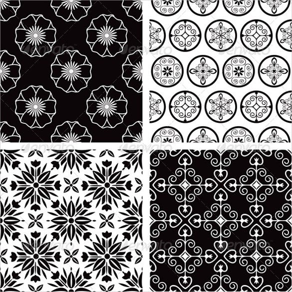 black and white decorative patterns set download