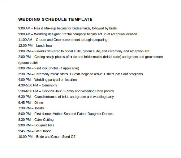Easy To Edit Wedding Schedule Template