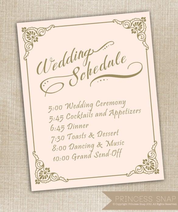17 Wedding Schedule Templates Psd Pdf Doc Xls Free