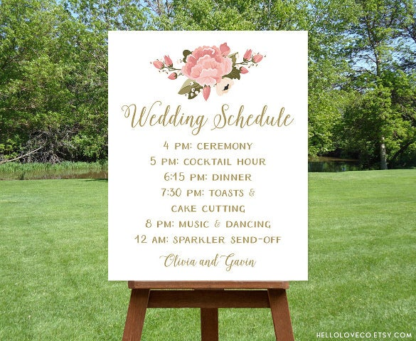 wedding scheudle template instant download